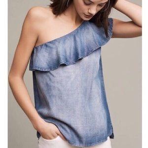 Cloth & Stone denim one shoulder top